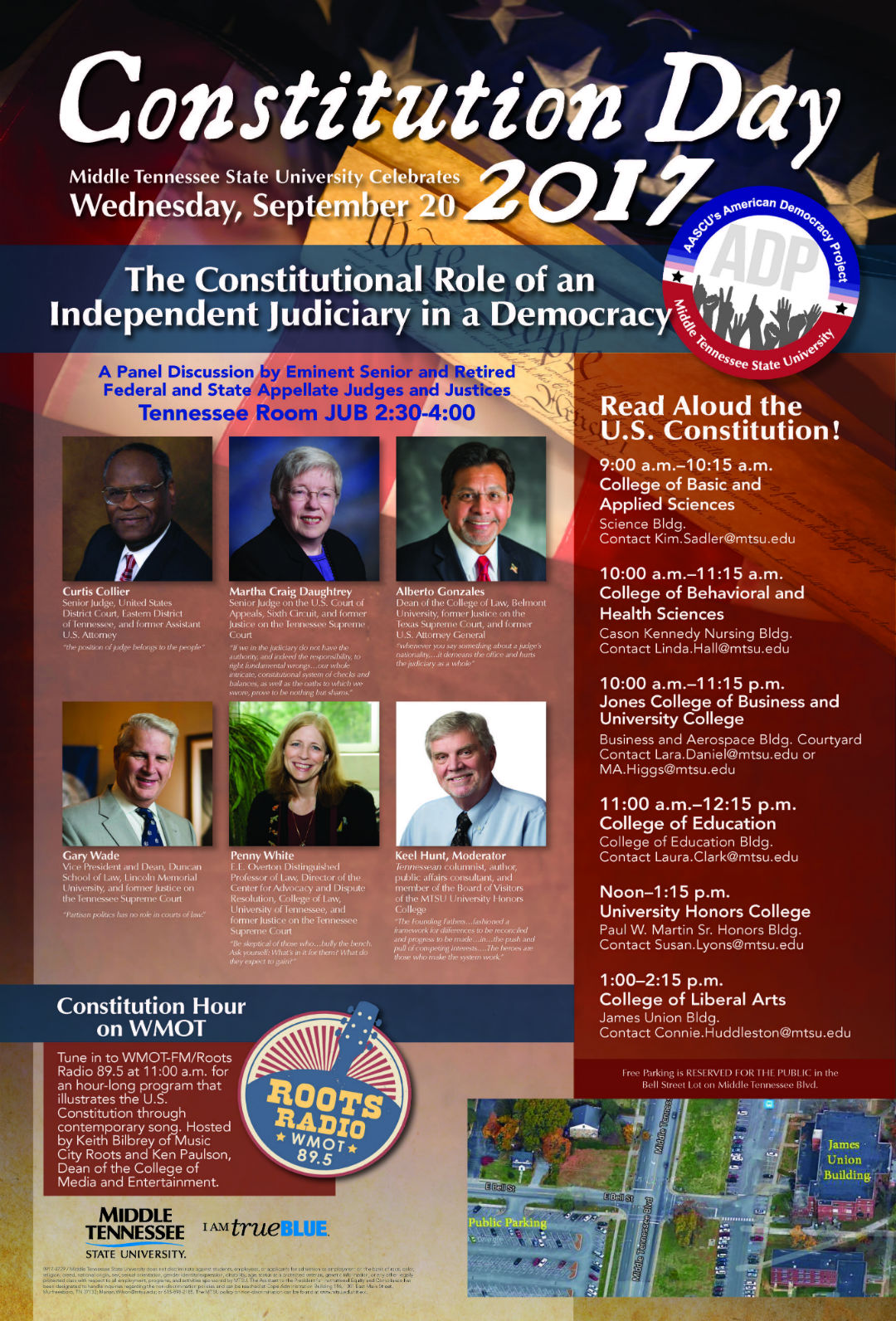2017 Constitution Day Poster with times of the Constitution read alouds across campus and the 2:30pm Panel discussion of an Independent Judiciary in a Democracy