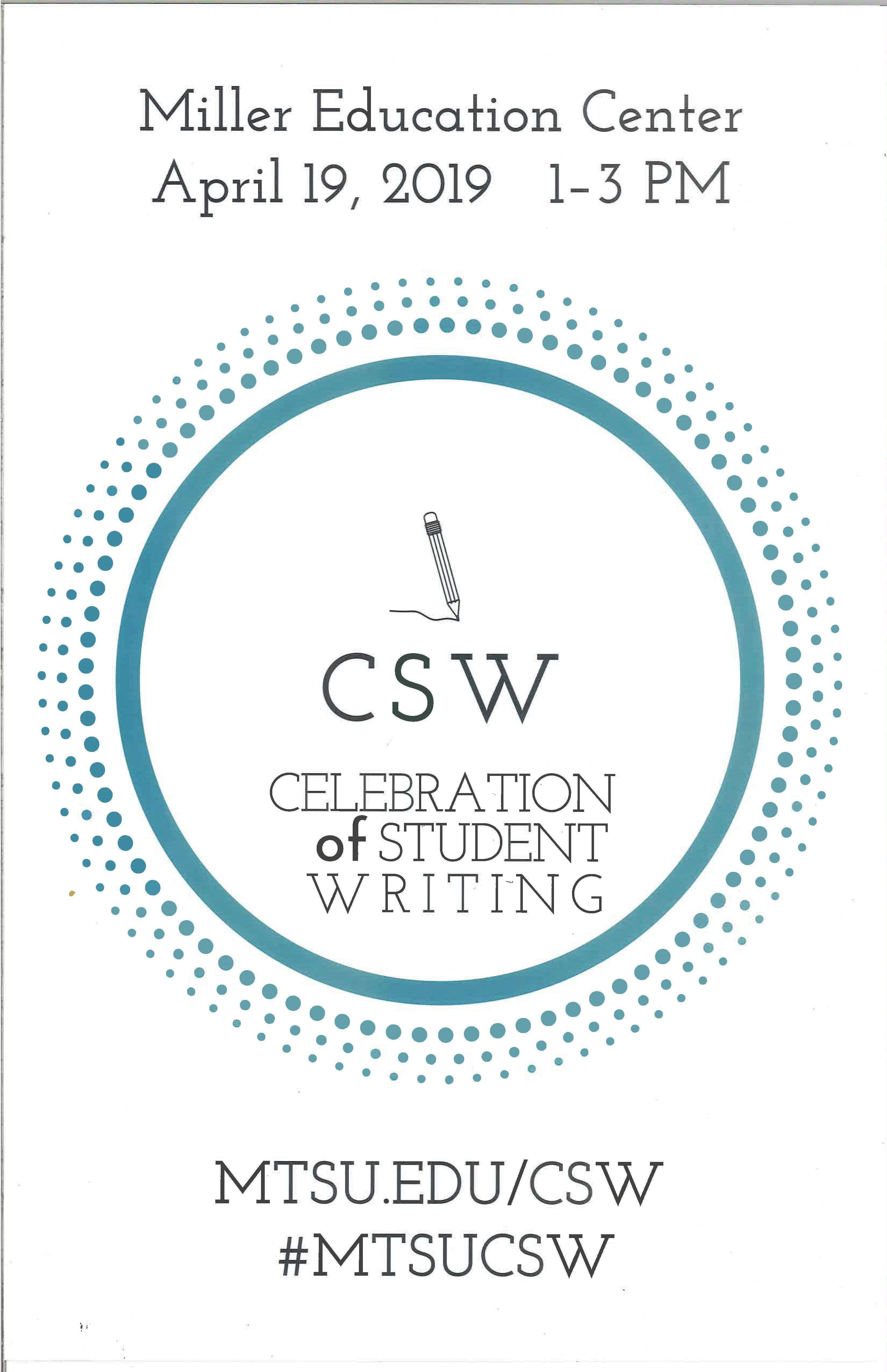 Flyer for the Celebration of Student Writing