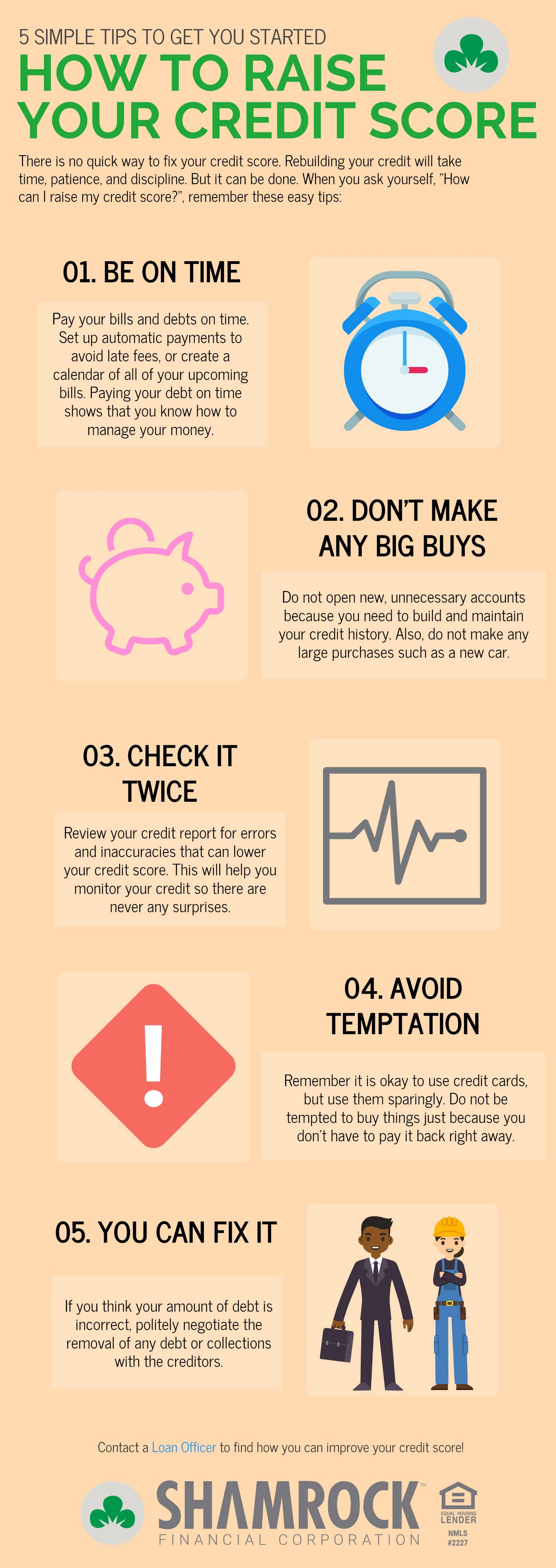 how to raise your credit score infographic