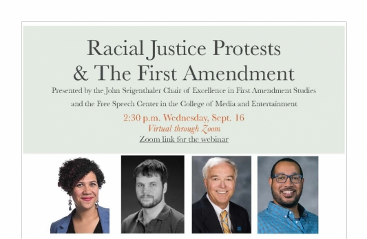 Sept. 16: Panel to discuss 'Racial Justice Protests and the First Amendment'
